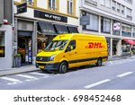 luxembourg aug 10 dhl van on... | Shutterstock . vector #698452468