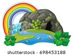 river  waterfall and rainbow in ... | Shutterstock .eps vector #698453188