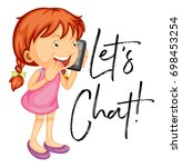 let's chat poster with girl... | Shutterstock .eps vector #698453254