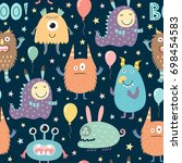 cute monsters seamless pattern. ... | Shutterstock .eps vector #698454583