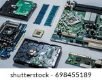 computer motherboard with other ... | Shutterstock . vector #698455189