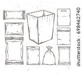 big set of empty plastic and... | Shutterstock .eps vector #698462740