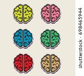graphic brain color set stickers | Shutterstock .eps vector #698465944