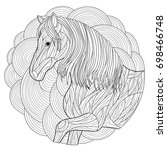 horse coloring page | Shutterstock .eps vector #698466748