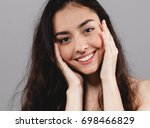 beauty woman face portrait.... | Shutterstock . vector #698466829
