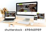 devices on desktop  | Shutterstock . vector #698468989