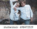 the dance of the body. slender... | Shutterstock . vector #698472529