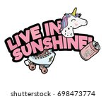 unicorn  skate patch with type | Shutterstock .eps vector #698473774