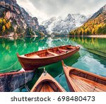 pleasure boats on braies... | Shutterstock . vector #698480473