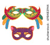 set of masquerade colorful...   Shutterstock . vector #698483944