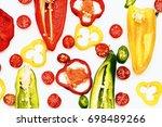 colorful fresh cut vegetables ... | Shutterstock . vector #698489266