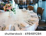 wedding table setting with... | Shutterstock . vector #698489284