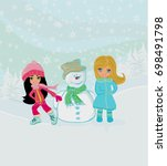 little girls and snowman  | Shutterstock . vector #698491798