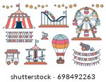set of line icon circus... | Shutterstock . vector #698492263