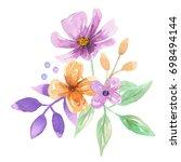 watercolor floral arrangement... | Shutterstock . vector #698494144