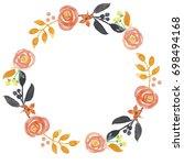 autumn flower garland floral... | Shutterstock . vector #698494168