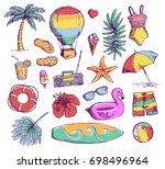 set of bright summer doodle... | Shutterstock . vector #698496964