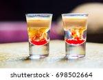 monkey brain cocktail in a shot ...   Shutterstock . vector #698502664