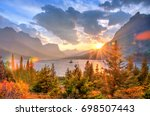 saint mary lake and wild goose... | Shutterstock . vector #698507443