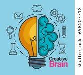 creative brain idea lightbulb... | Shutterstock .eps vector #698507713