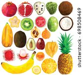 exotic fruit set colorful low... | Shutterstock .eps vector #698508469