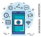 social media technology digital ...   Shutterstock .eps vector #698509354