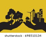 hand holding silhouette eco... | Shutterstock .eps vector #698510134