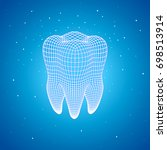 polygonal mesh tooth on a blue... | Shutterstock .eps vector #698513914