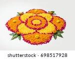 flower rangoli for diwali or... | Shutterstock . vector #698517928
