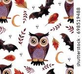 watercolor handdrawn seamless...   Shutterstock . vector #698519488