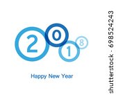 happy new year with blue... | Shutterstock .eps vector #698524243