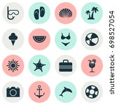 summer icons set. collection of ... | Shutterstock .eps vector #698527054