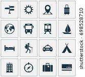 exploration icons set.... | Shutterstock .eps vector #698528710
