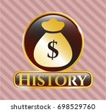 golden badge with money bag... | Shutterstock .eps vector #698529760