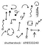 hand drawn doodle set of arrows | Shutterstock .eps vector #698533240
