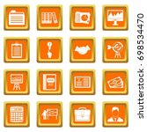business plan icons set in... | Shutterstock .eps vector #698534470