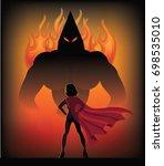 superhero woman standing... | Shutterstock . vector #698535010