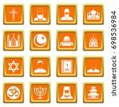 religious symbol icons set in...   Shutterstock .eps vector #698536984