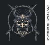 samurai mask japanese | Shutterstock .eps vector #698537224