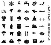 rainy cloud icons set. simple... | Shutterstock .eps vector #698541964