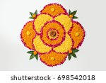 flower rangoli for diwali or... | Shutterstock . vector #698542018