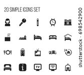 set of 20 editable hotel icons. ... | Shutterstock .eps vector #698542900