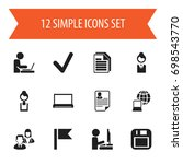 set of 12 editable office icons.... | Shutterstock .eps vector #698543770