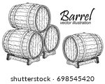 vector wooden barrel. hand... | Shutterstock .eps vector #698545420