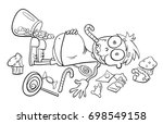 black and white cartoon vector... | Shutterstock .eps vector #698549158