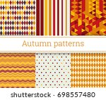 seamless autumn patterns set... | Shutterstock .eps vector #698557480