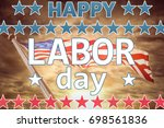 Happy Labor Day Text With Star...