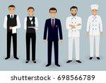 restaurant team young... | Shutterstock . vector #698566789