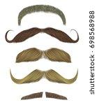 set vector mustache different... | Shutterstock .eps vector #698568988