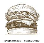 vector black hand drawn... | Shutterstock .eps vector #698570989